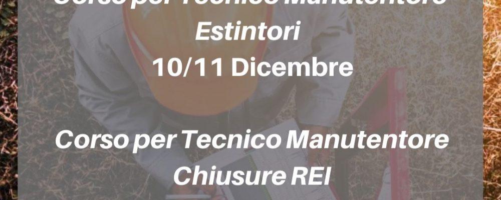 Padova: Corso per tecnico manutentore di estintori d'incendio 10 – 11 dicembre e Corso per manutentore di chiusure tagliafuoco 12 – 13 dicembre